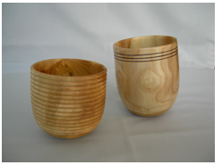 Complementary pair of vessels by Colin Smith from wood from trinity College